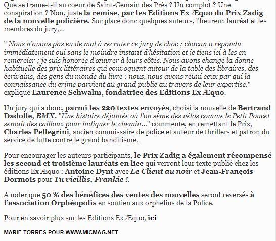 article Prix Zadig 2