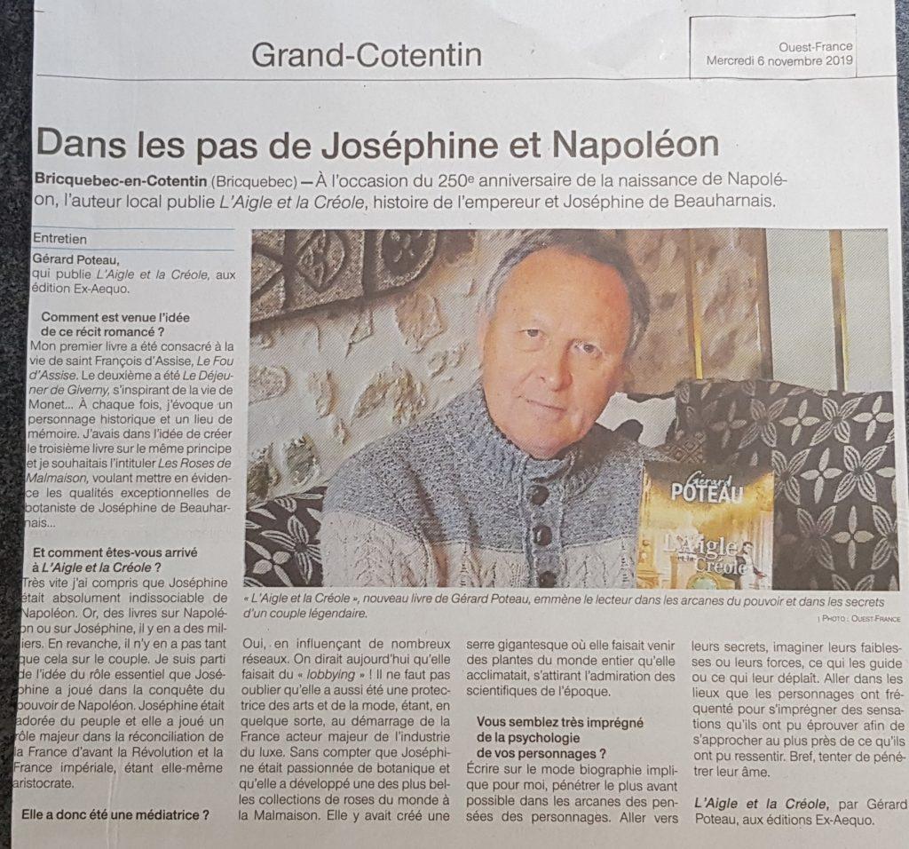 article de presse Gérard Poteau L'Aigle et la Créole Ouest France