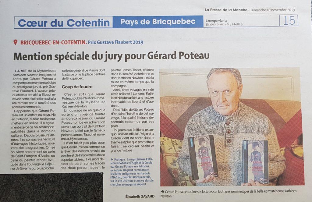 article de presse GérardPoteau Presse de la Manche Kathleen Newton