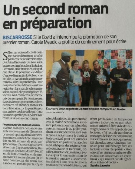 article sur 2° roman en préparation Carole Meudic