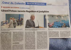 article Presse de la Manche - Conférence de Gérard Poteau sur Napoléon et Joséphine