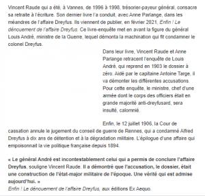 Article Enfin ! Dénouement affaire Dreyfus - Ouest France 22.2.2021