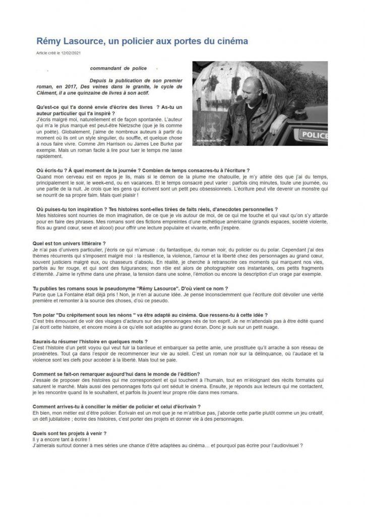 Article sur Rémy Lasource Ministère de l'Intérieur