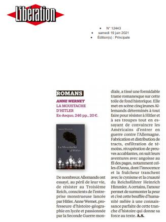 Libération La Moustache d'Hitler Anne Wernet