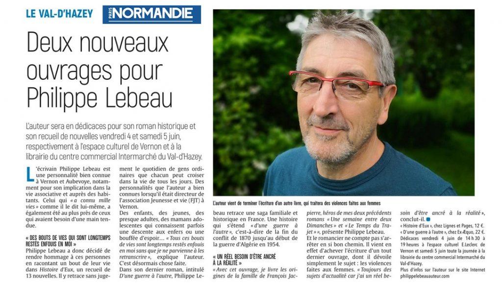Article sur Philippe Lebeau dans Paris Normandie
